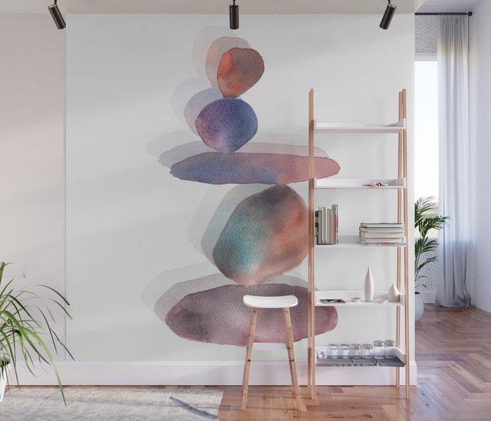 watercolor-pebbles-balance-wall-murals