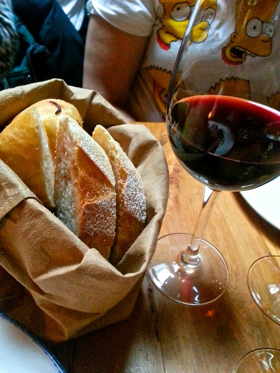 Wine and bread, something most people could probably live off of.