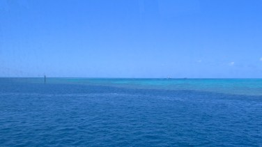 The Great Barrier Reef's colours make for two-toned ocean water. Photo by: Leviana Coccia.