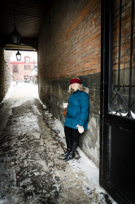 My sister modeling in a cobblestone alleyway in Old Montréal.