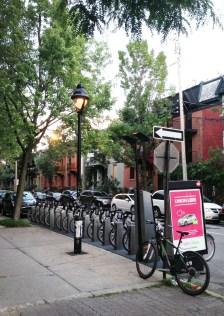 BIXI bikes in a residential neighbourhood in Montreal.