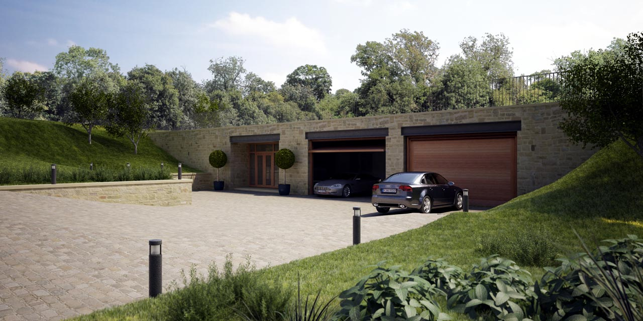 Grey underground concrete room with wooden garage door can add the grey underground concrete room with wooden garage door can add the elegant touch inside house design ideas with large yard make it seems nice rubansaba