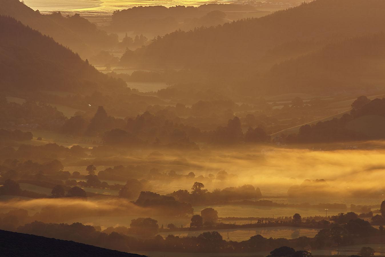 Sunrise over an Exmoor valley print