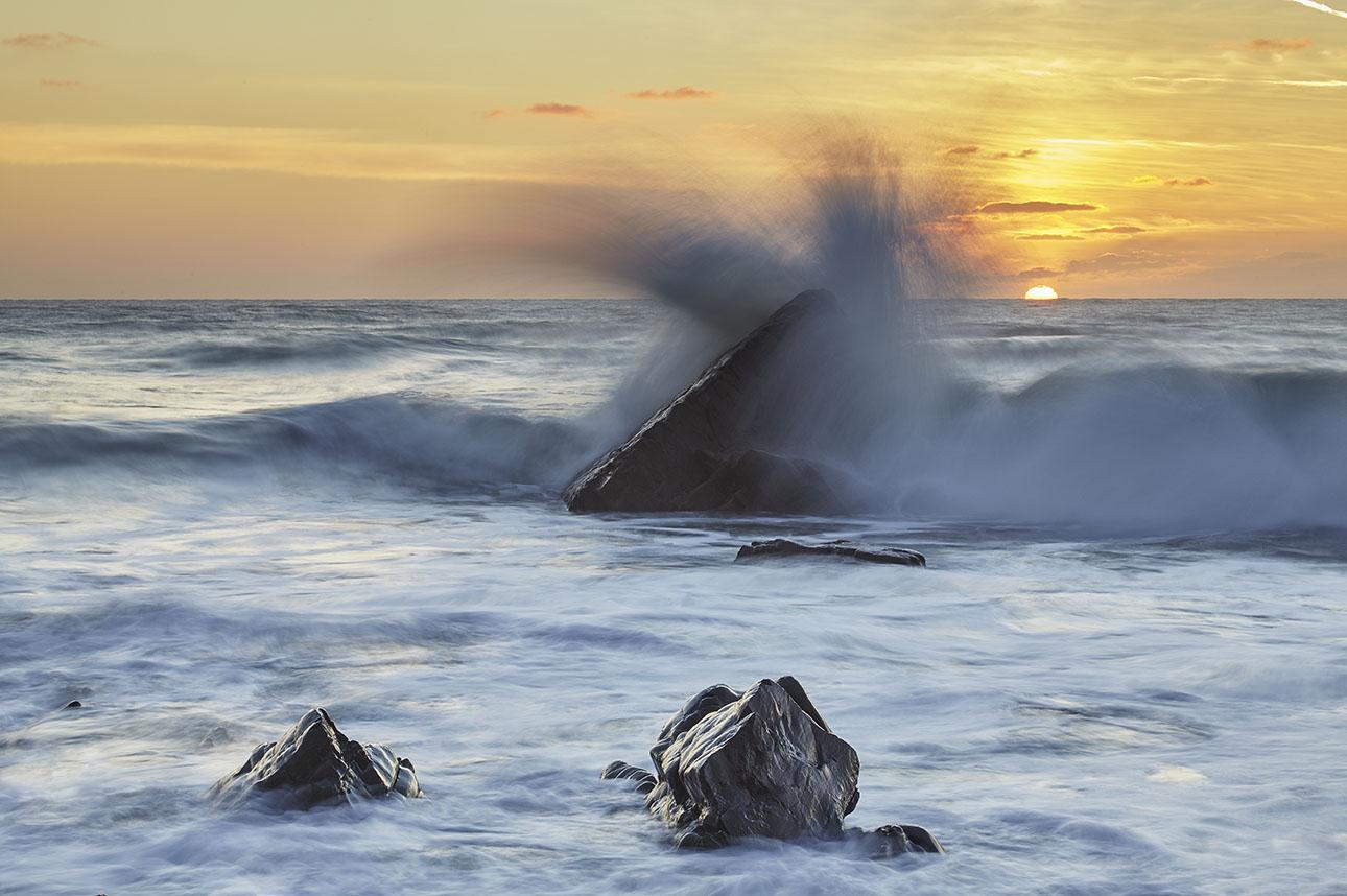 Cornish Atlantic Surf at Sunset print
