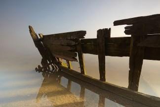 Shipwreck print; Misty Morning Boat Wreck