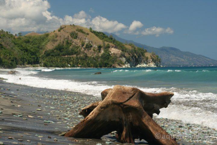 Ende pláž zelených oblázků