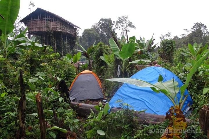 Stany účastníků expedice a obydlí Korowai