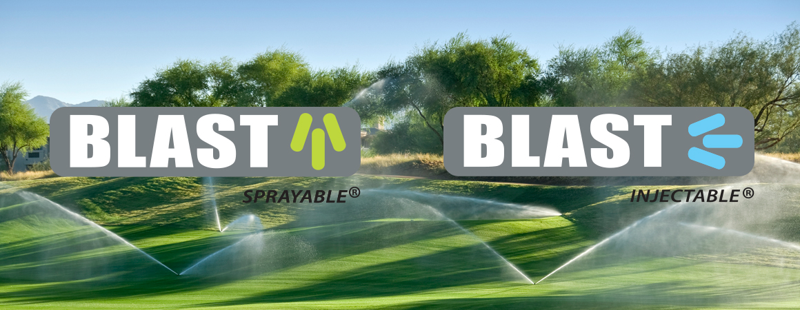 Blast Sprayable and Blast Injectable logos over golf course being watered by sprinklers