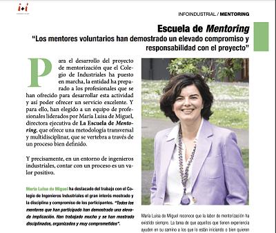 Entrevista sobre mentoring en la Revista InfoIndustrial