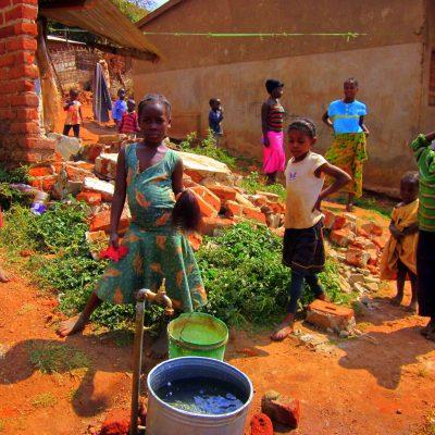 Children gather water