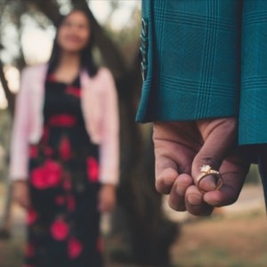 Man with ring in hand for wedding proposal