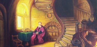 Rembrandt: filósofo medita junto a la ventana (detalle)