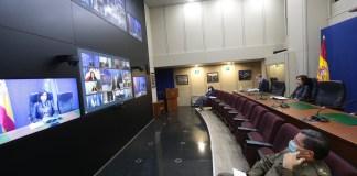 La ministra de Defensa, Margarita Robles, en videoconferencia con los ministros de Defensa de la UE, el 12 de mayo de 2020. Foto: Iñaki Gómez / MDE