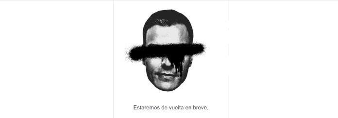 Pedro Sanchez tachado con un spray
