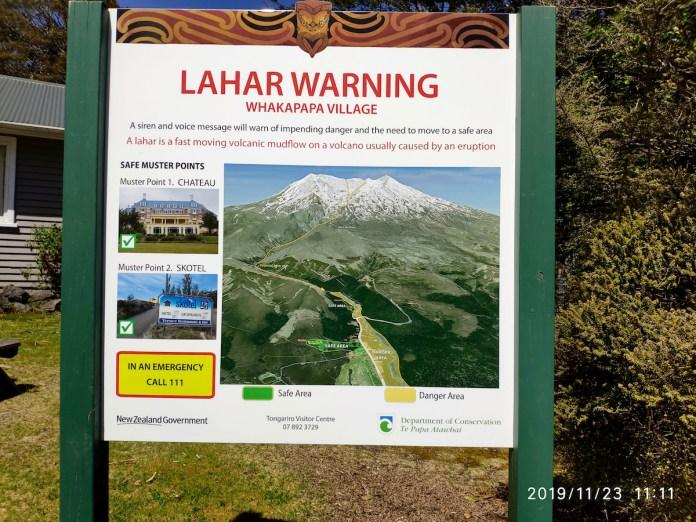 Normas para evacuar la zona en caso de erupción