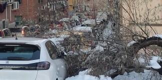 Fotografía del distrito de Usera tras la nevada de Filomena publicada por la AV Almendrales