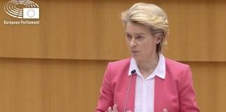 Ursula von der Leyen en la sesión del Europarlamento del 25 y 26 de abril 2021