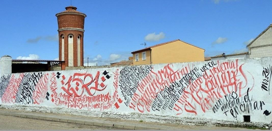 Mural alusivo al movimiento de las comunidades en Villalar de los Comuneros