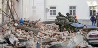 Imagen de televisión del terremoto en Petrinja, Croacia, diciembre 2020