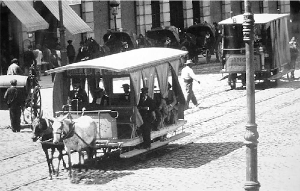 Madrid 1871, línea de tranvía por tracción animal entre el barrio de Salamanca y el barrio de Pozas