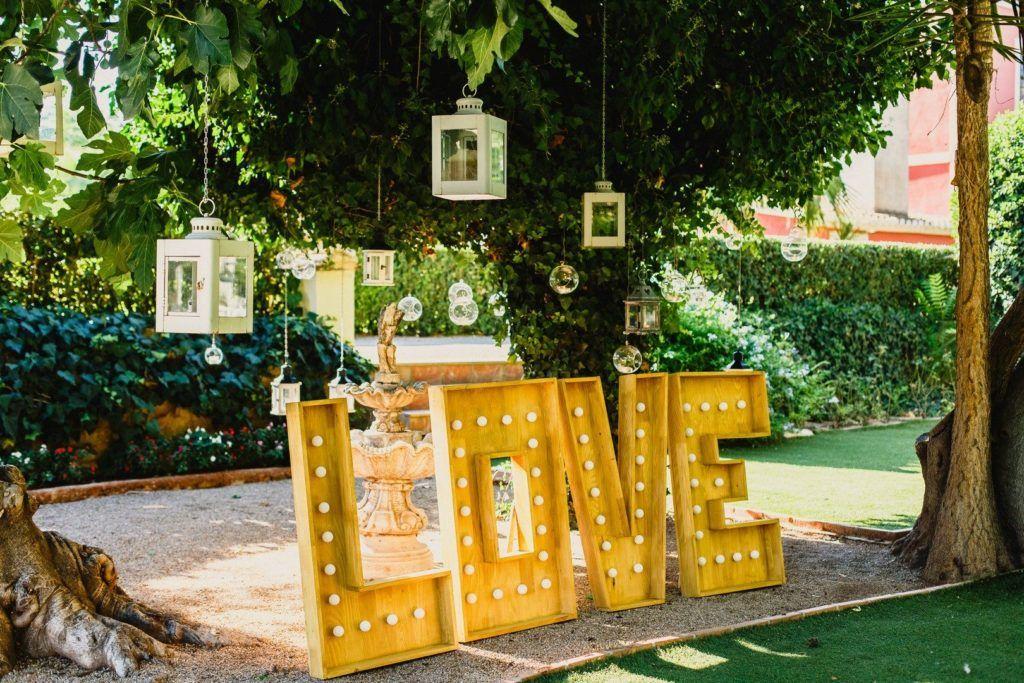 love con luces boda