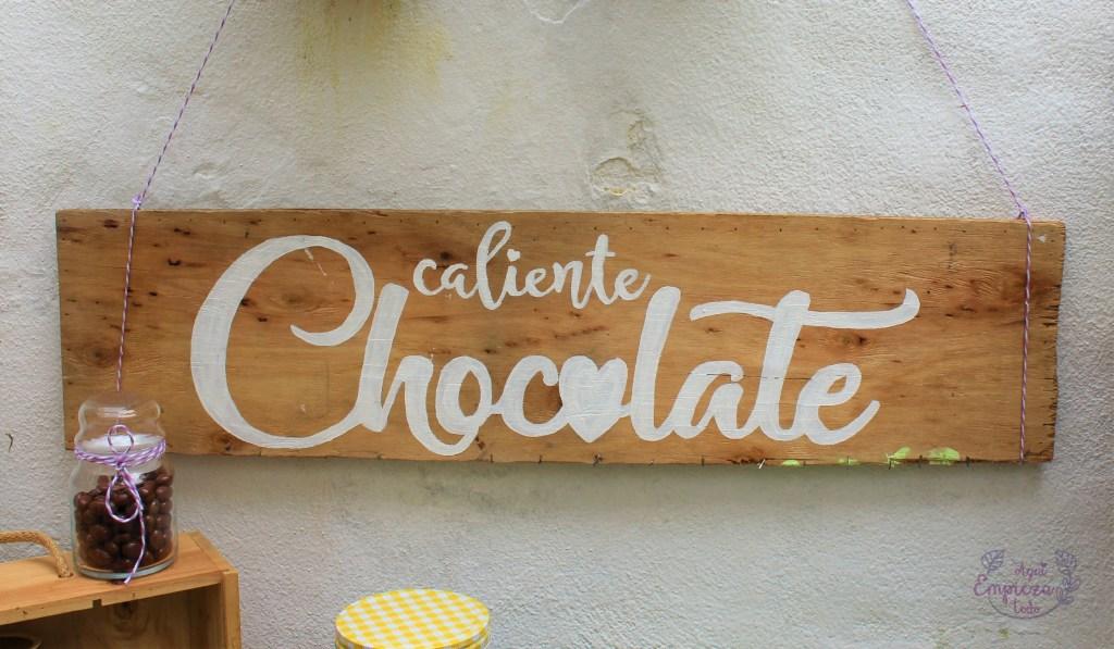 Cartel de madera chocolate caliente