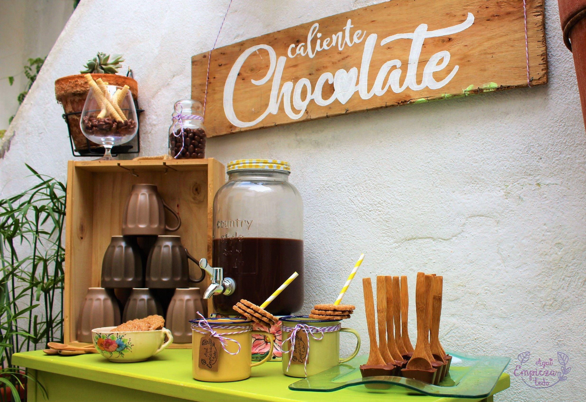 Una mesa de Chocolate caliente en vuestra boda
