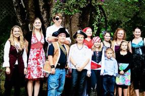 Current and Former Daycare Children with Irvina in Pirate Costume