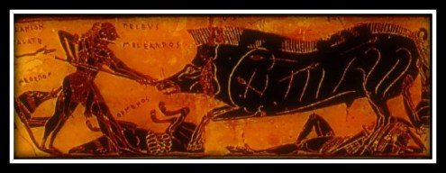 """Hunting of the huge boar of Calydon"". Detail from the top band of the famous François Vase. Dated 570/560 BC."