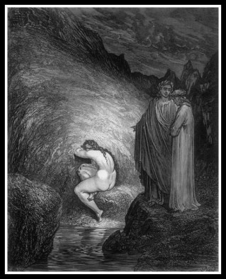 """Myrrha in Hell, condemned for incest"". Illustration by Gustave Doré, for Dante's ""Divine Comedy""."