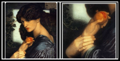 """Proserpine"" (three-quarter portrait holding a pomegranate), by Dante Gabriel Rossetti (1874). / On the Right: Detail: Pomegranate."