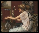 """Erato (Muse of love and poetry) at Her Lyre"" by John William Godward. 1895."