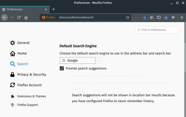 Captura de pantalla de Firefox que muestra el motor de búsqueda predeterminado (Google)