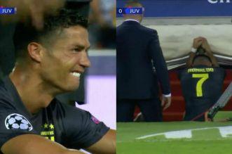 """بالفيديو.. رونالدو يتلقى البطاقة الحمراء ويغادر المباراة """"باكيا"""""""