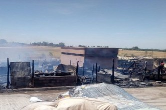 النيران تأتي على 70 محل بسوق تحناوت