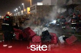 اندلاع حريق في سوق للخضر والفواكه بالبيضاء – فيديو