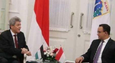 حاكم جاكرتا أنيس باسويدان يستقبل السفير الفلسطيني