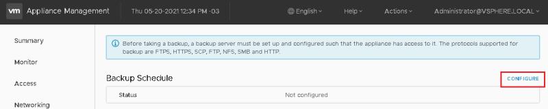 vCenter - VAMI Backup Configure 01
