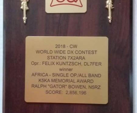 L'ARA vainqueur du CQ WW-CW Contest pour la région Afrique