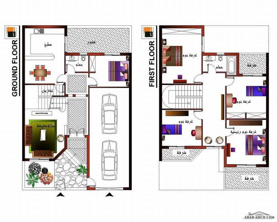 تصميم 3 سكاتشات لمنزل على قطعة أرض مساحتها 180 متر مكتب