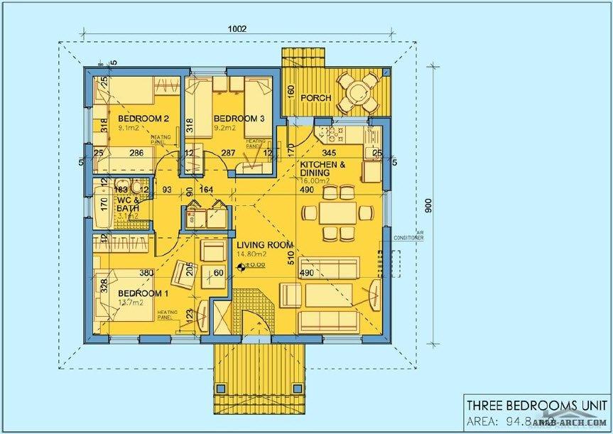خرائط بيت استراحه طابق واحد 90 متر مربع Arab Arch