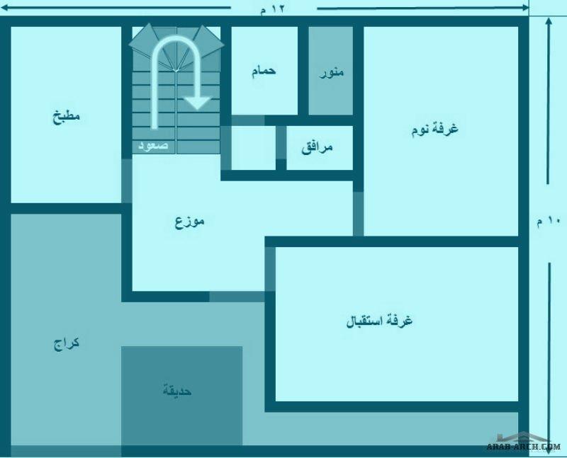 تصميم بيت عراقى مساحة 120 واجهة 12 م ونزال 10 م Arab Arch