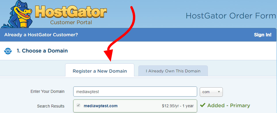 register a new domain