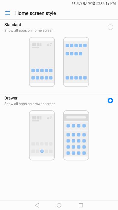 الإختيار بين وجود App Drawer أو لا