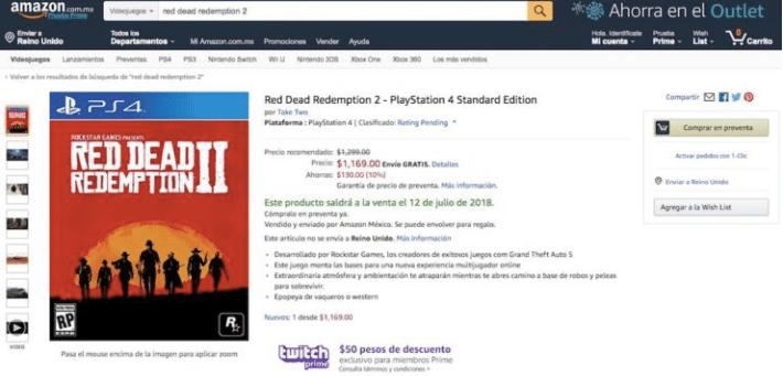 Red Dead Redemption 2 Amazon Mexico