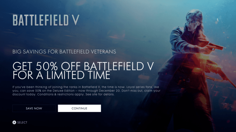 EA battlefield 5 Xbox One 50%