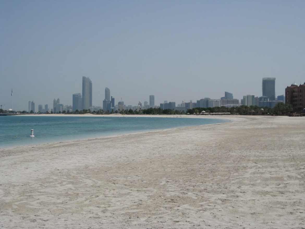 View of the beach with the city behind