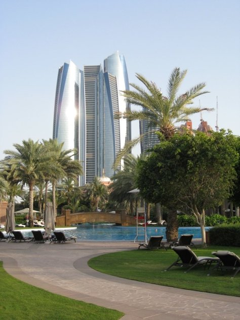 View back to the Etihad towers over the East Wing pool