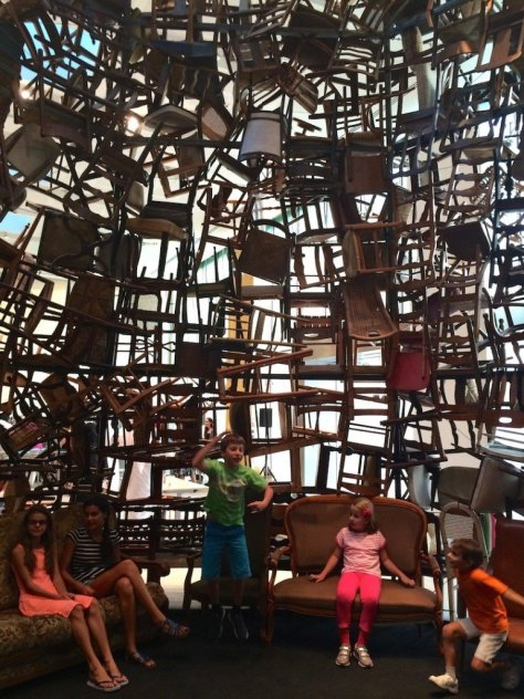Inside the chair sculpture at Manarat Al Saadiyat
