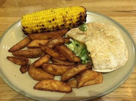 Chicken pitta with wedges and corn on the cob
